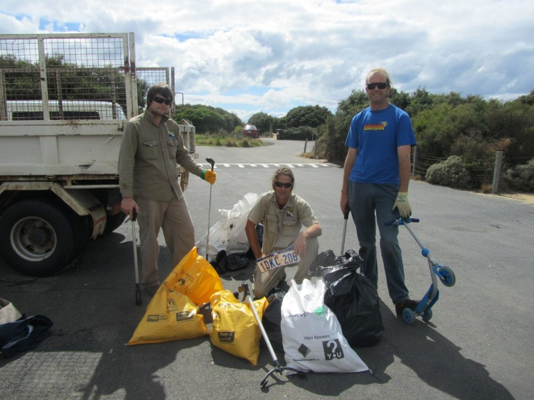 GORCC staff members Zac, Trent with Jan Juc Coast Action Chairperson Luke Hynes with some of the unusual items found at Clean Up Australia Day.