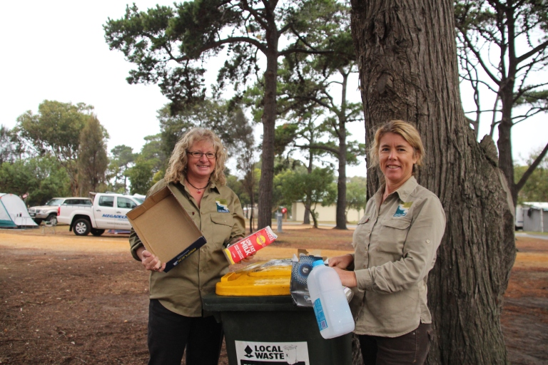 GORCC education activity leader Hilary Bouma and conservation officer Georgie Beale demonstrate responsible recycling.