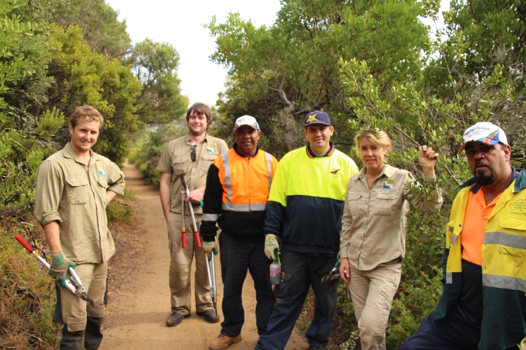 (L-R) Evan Francis, Zac Hooper-Travers, Alfred Oram, David Tournier Jnr, Georgie Beale and Shane Clarke. Georgie, Zac and Evan are from the GORCC conservation team while Alfred, David and Shane are from the Wathaurong Aboriginal Cooperative