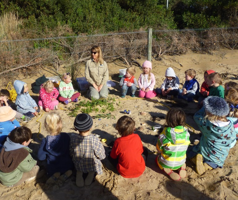 GORCC's Conservation Supervisor Georgina Beale facilitated fun coastal activities for the Anglesea Kindergarten kids.