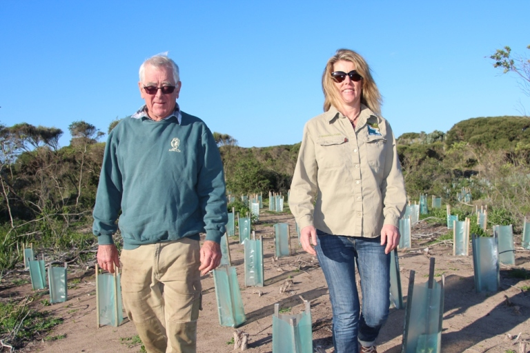 ANGAIR volunteer Bill McKellar and GORCC Conservation Officer Georgie Beale on the Melba Parade (Anglesea) site where the seven-year restoration project had been taking place.