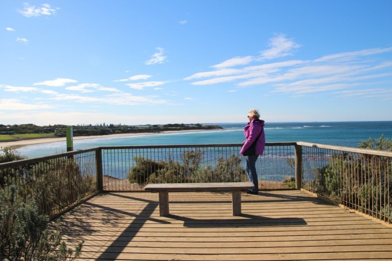 Marian enjoys the unique scenic views from Rocky Point Lookout