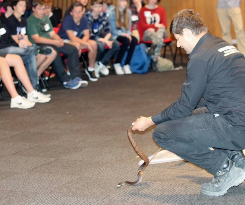 Student conservation celebrations feature reptilian guests