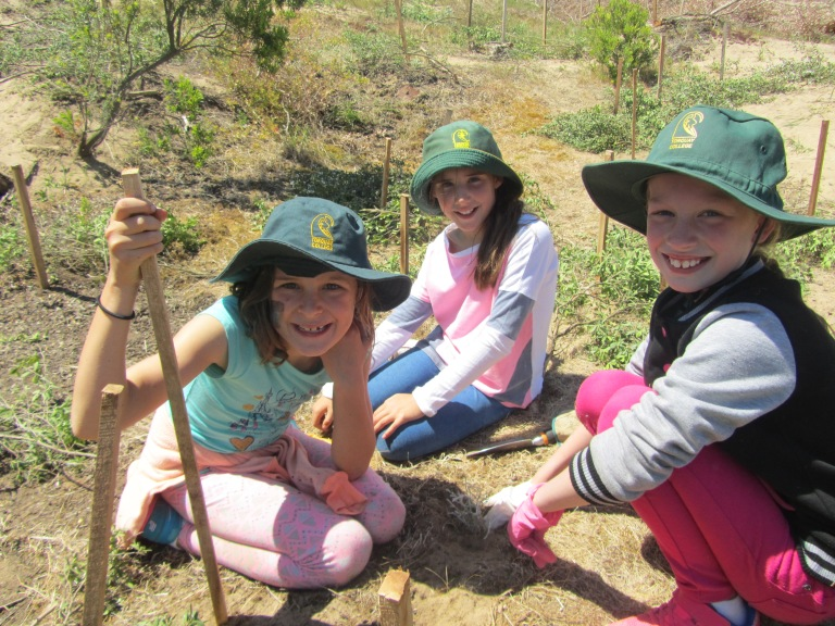 From left to right: Amelia, Ava, and Tahlia from Torquay College enjoy the tree-planting day as part of the Coastal Stewards Program.