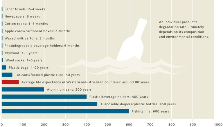 The amount of litter in the oceans is constantly increasing. Much of it degrades very slowly. Plastic bottles and nylon fishing line are particularly durable. Although many plastics break down into smaller fragments, it will take decades or even centuries (estimated timescales) for them to disappear completely. Source: Maribus (World Ocean Review)