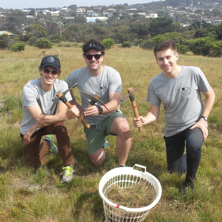 Rip Curl staff Aloise Bersan, Sam O'Dwyer and Robbie Cullen aren't afraid to get their hands dirty on the 2014 Rip Curl Planet Day.