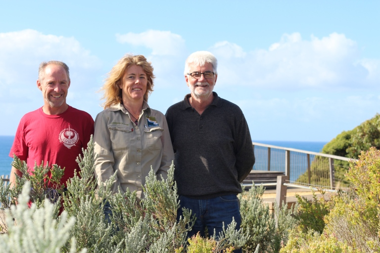 Jan Juc Coast Action volunteers Graeme Stockton (left) Geoff Morgan and GORCC Conservation supervisor Georgie Beale