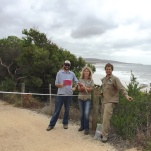 Beacon Ecologist Luke Hynes helps GORCC conservation supervisor Georgie Beale and