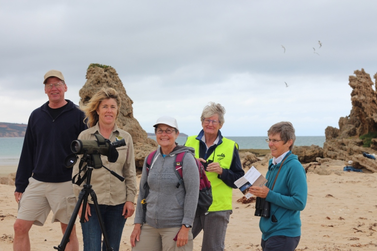 (L-R) American ecologist Tim Seastedt, GORCC conservation supervisor Georgie Bealse, American scientist Kathy Tate and Friends of the Hooded Plover Surf Coast volunteers Ethorne Mitchell and Mandy Mitchell