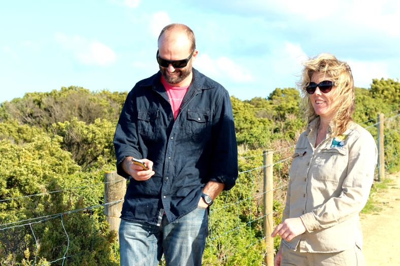 JJCA Chairperson Luke Hynes and GORCC Conservation Supervisor Georgie Beale test out the database on their walk.