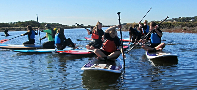 Stand up paddle boarding provided a fun new classroom for the Northern Bay College students.