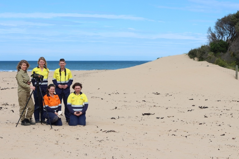 GORCC Conservation Supervisor Georgie Beale and Green Army participants monitoring Hooded Plovers along the coast.