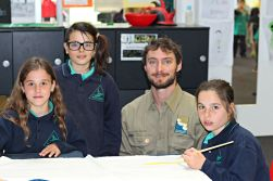 GORCC Education Coordinator Pete Crowcroft helps students create key Hooded Plover messages to let people know to give the 'hoodies' space on the beach.
