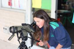 Students enjoyed using the scope to see how far across the school oval they could see.