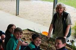 GORCC Education Activity Leader Hilary Bouma demonstrates dune habitats and Hooded Plover nesting habits.