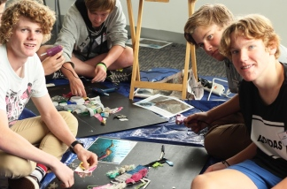 Geelong Lutheran College students Samuel Grundell, Johnny Ferguson-Reynolds and Cameron Wilkinson creating their Seahorse art.