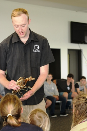 Black Snake presenter and a Spiny Freshwater Crayfish