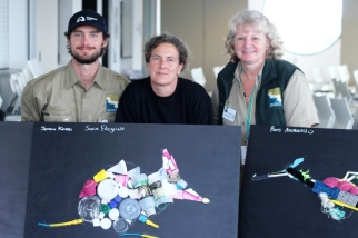 Local artist Lisa Hunter (middle) with Education Coordinator Peter Crowcroft and Education Activity Leader Hillary Bouma with the students artwork.