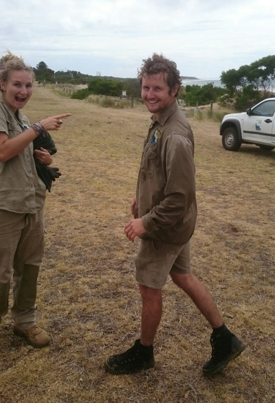 GORCC conservation team members Rachael and Evan having some fun at the Summer by the Sea activities at Fishermans Beach.
