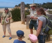 GORCC Education Activity Leader Hilary Bouma and Parks Victoria ranger with an eager group of participants about to head to the beach in search of treasures.
