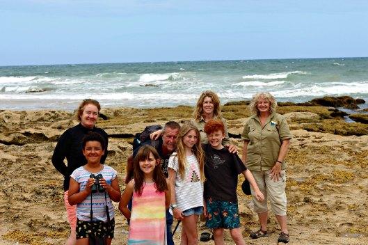 From left: Marita, Matilda, Mia, Otis, Elke, Occy, GORCC Conservation Supervisor Georgie Beale and GORCC Education Activity Leader Hilary Bouma.