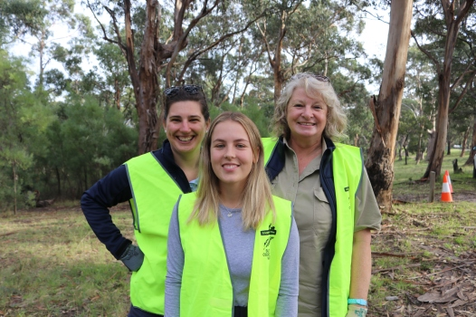 L-R Katie Dolling, Indi Haintz and Hilary Bouma prepare for the weeding day