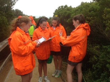 Students from the Coast Guardians program monitoring the water condition and sand movements on the coast.