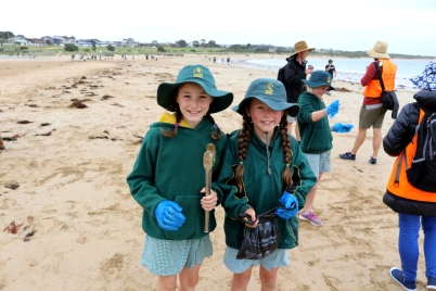 Torquay College students help collect rubbish and microplastics at Fishermans Beach to prevent the on-flow effect on marine life.