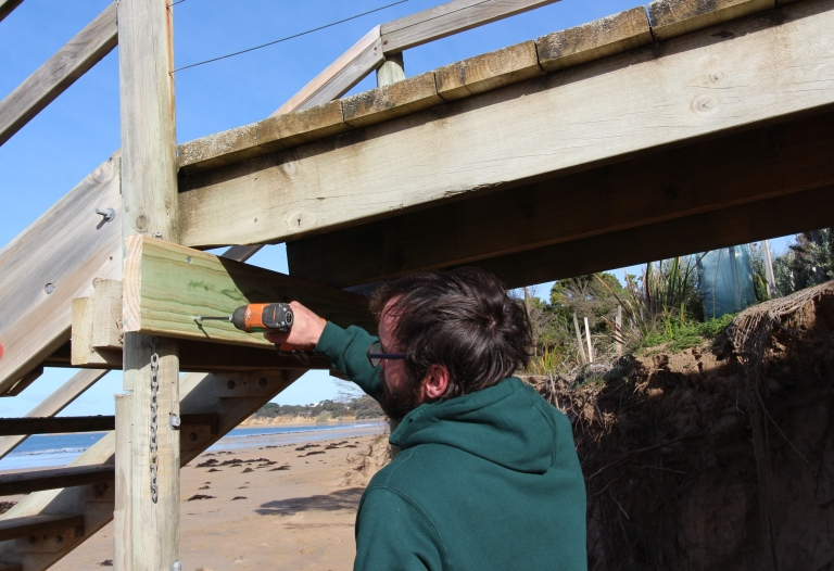 Stair repairs at Fishermans Beach, Torquay