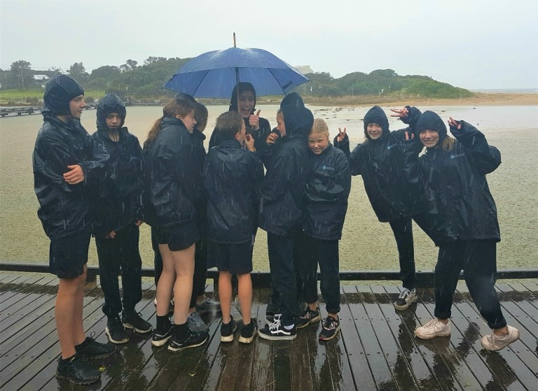 Surf Coast Secondary College yr 7 students caught in the rain